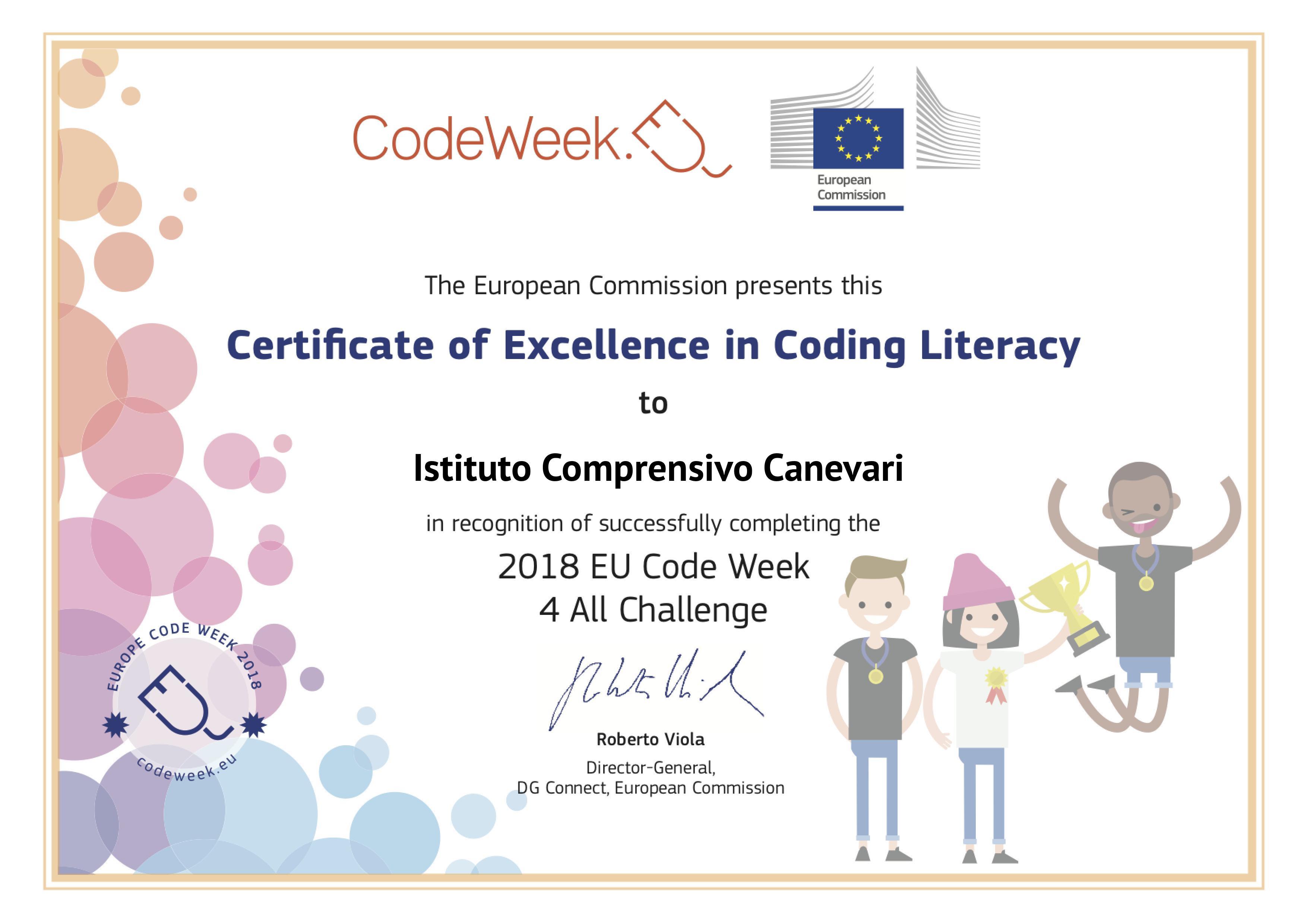 Certificato di eccellenza per le attività di coding